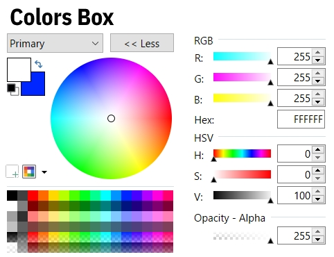 color picker in an image editor software